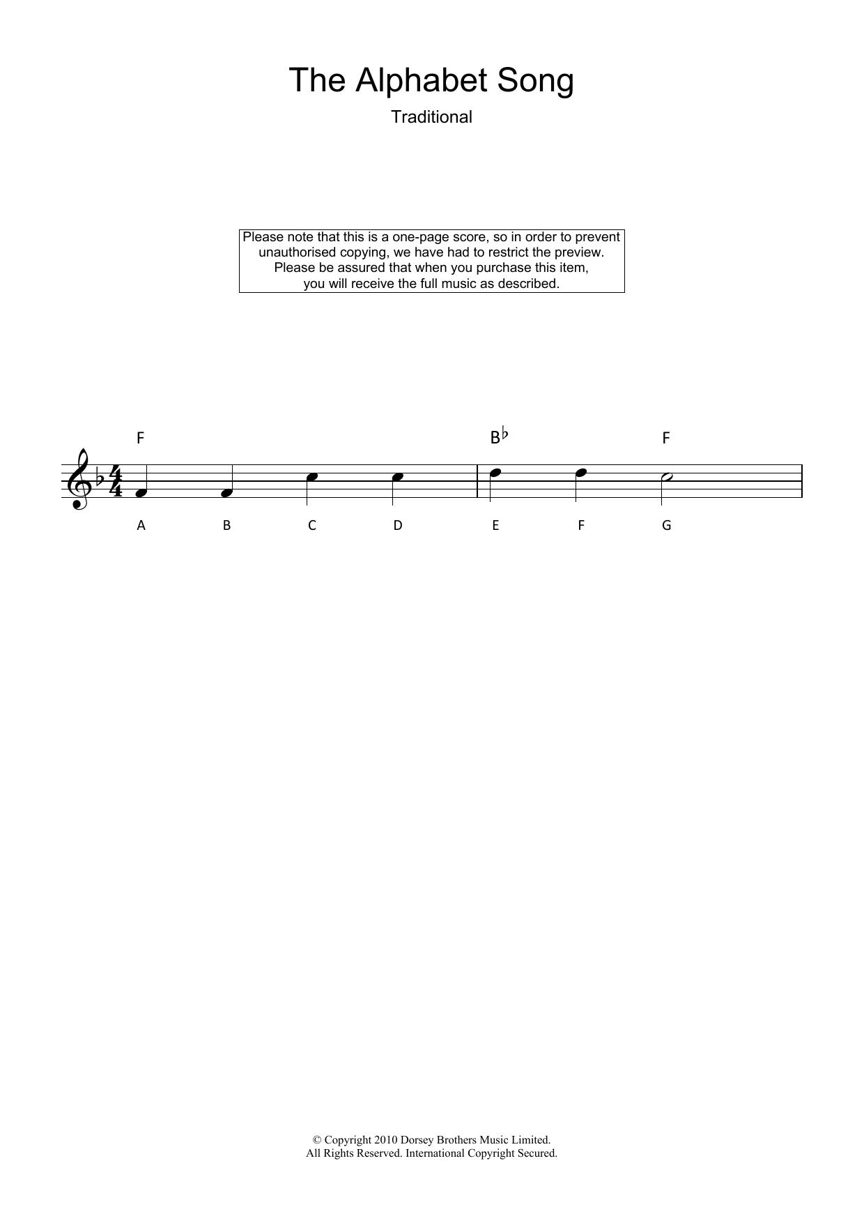 Alphabet Song (Lead Sheet / Fake Book)
