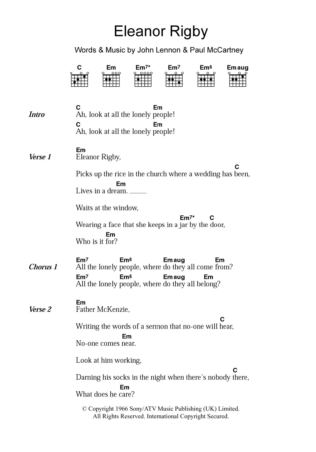 Lyrics for Eleanor Rigby by The Beatles - Songfacts