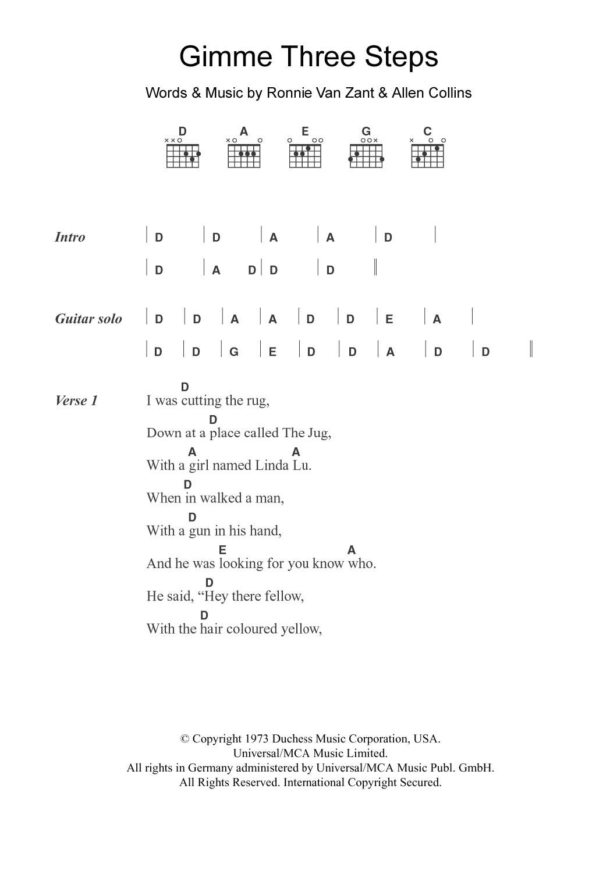 Gimme Three Steps By Lynyrd Skynyrd Guitar Chordslyrics Guitar