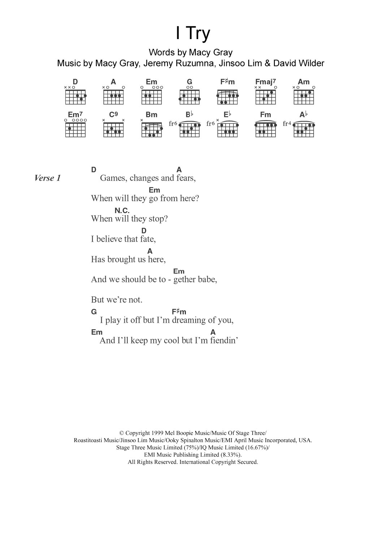 I Try Sheet Music   Macy Gray   Guitar Chords/Lyrics