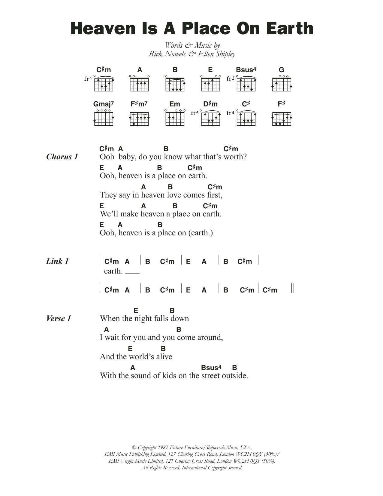 Heaven Is A Place On Earth By Belinda Carlisle Guitar Chords