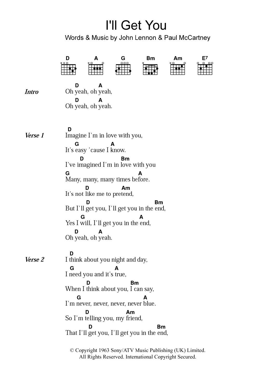 I\'ll Get You Sheet Music   The Beatles   Lyrics & Chords