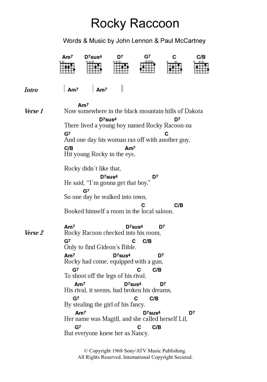 Rocky Raccoon By The Beatles Guitar Chordslyrics Guitar Instructor