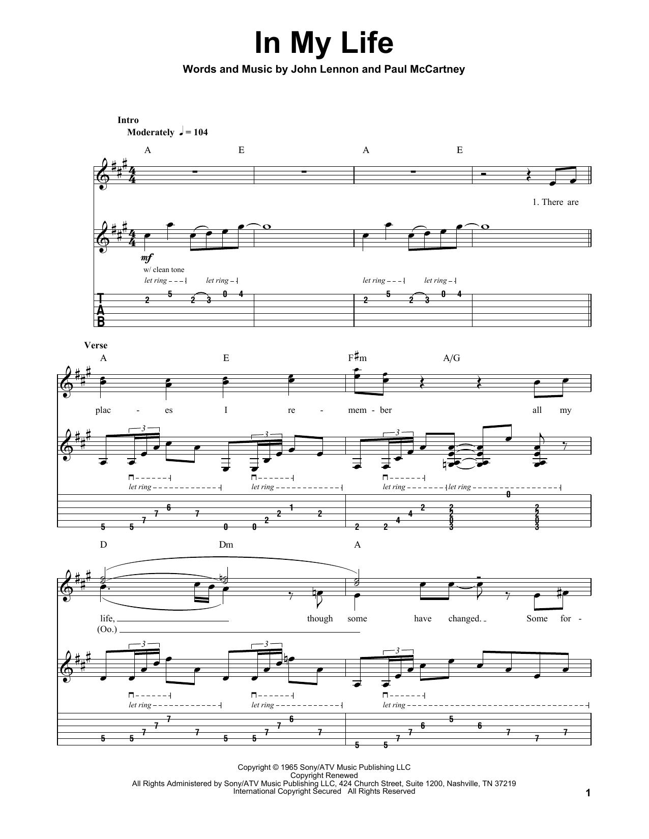 In My Life (Guitar Tab (Single Guitar))
