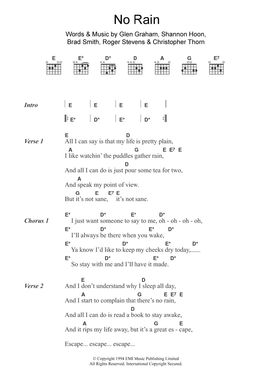 No Rain By Blind Melon Guitar Chords Lyrics Guitar