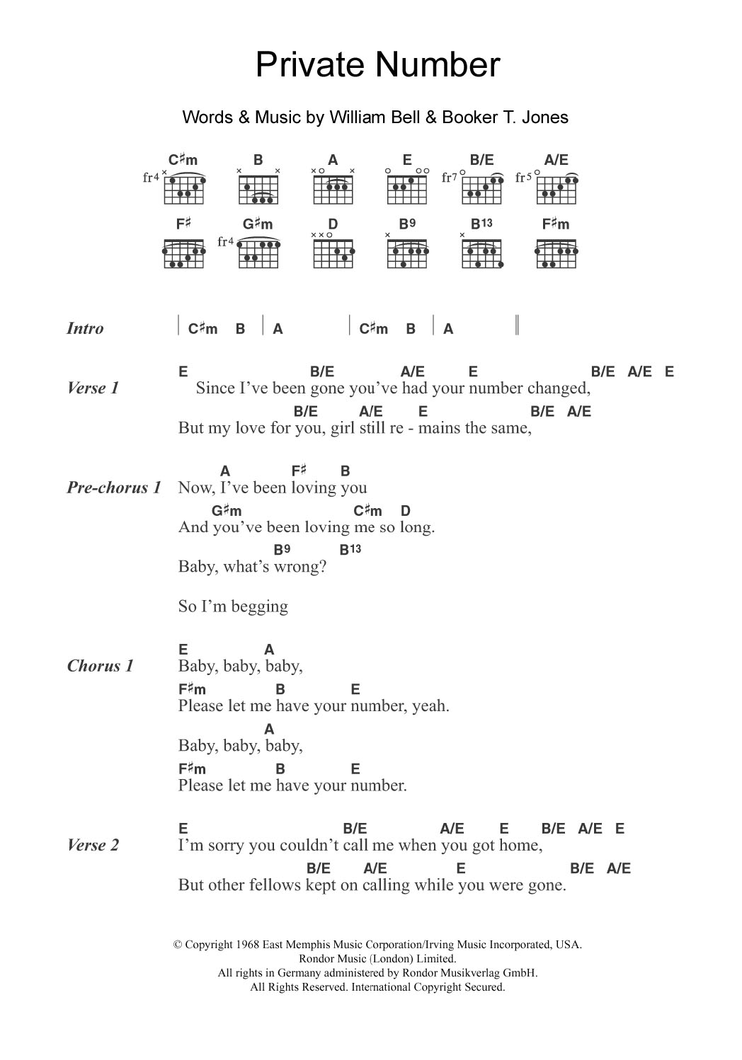 Private Number By William Bell Guitar Chordslyrics Guitar