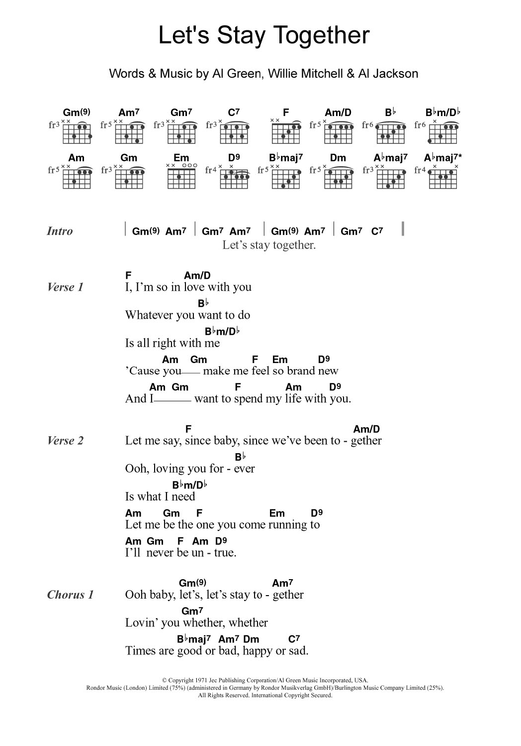 Lets Stay Together Sheet Music Al Green Lyrics Chords