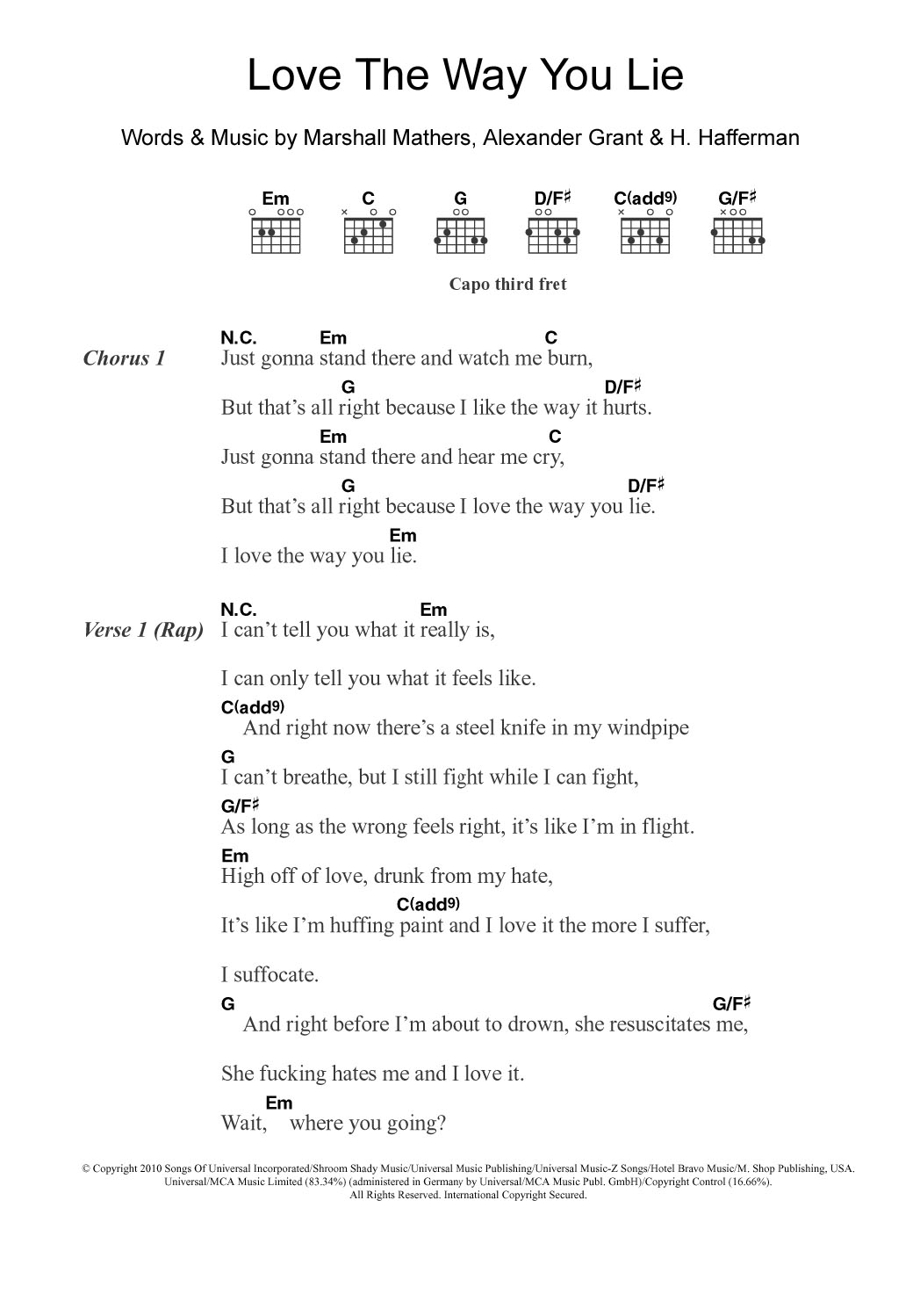 Love The Way You Lie Featuring Rihanna By Eminem Guitar Chords