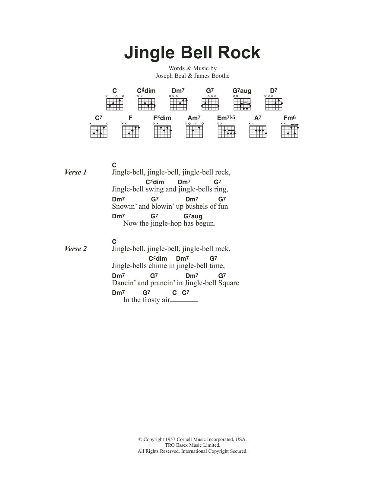 Jingle Bell Rock by Chubby Checker - Guitar Chords/Lyrics - Guitar Instructor