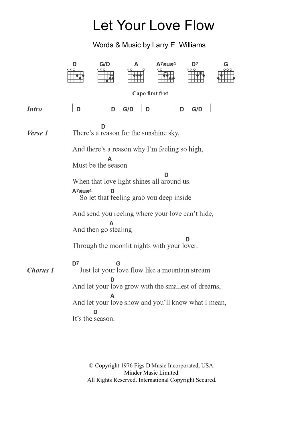 Let Your Love Flow Sheet Music By The Bellamy Brothers Guitar