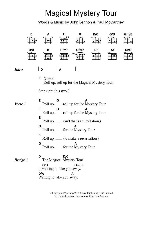 Magical Mystery Tour By The Beatles Guitar Chordslyrics Guitar