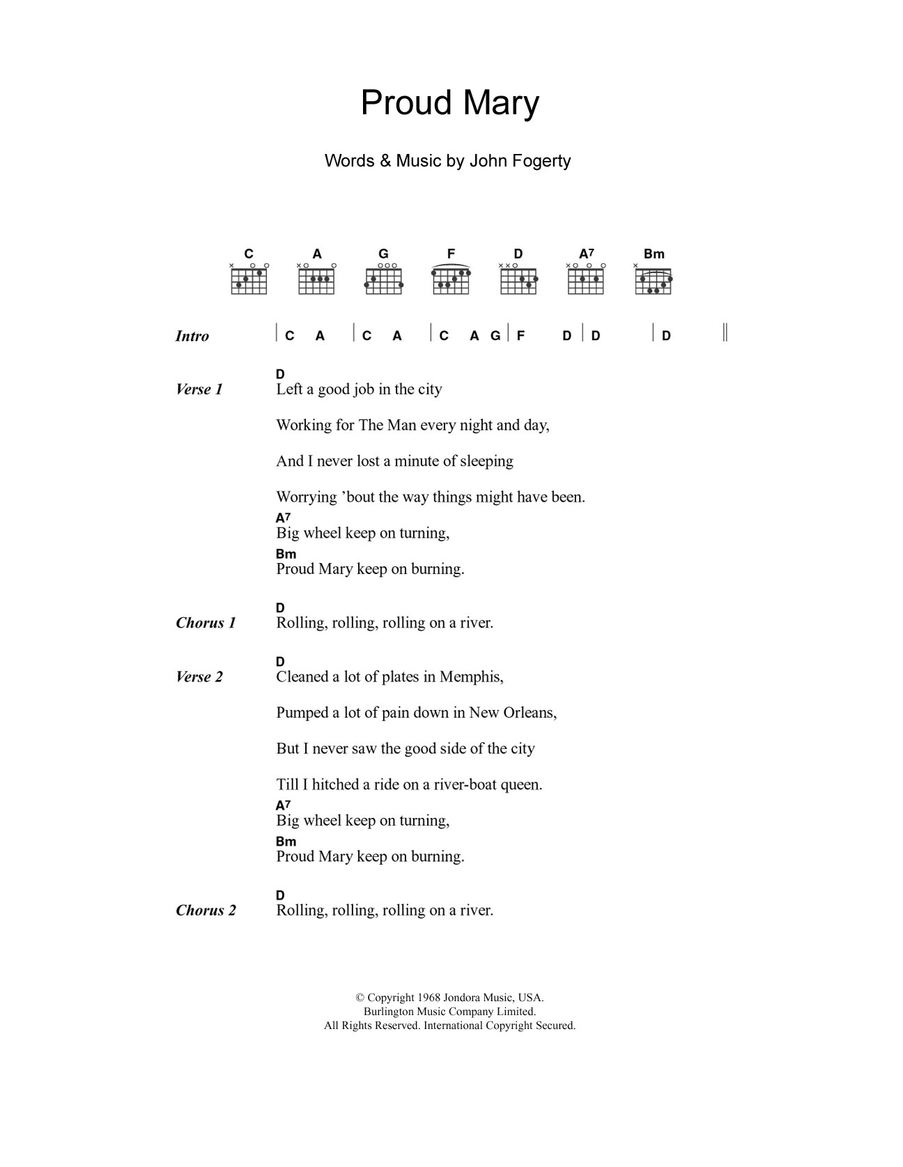 Proud Mary Sheet Music Creedence Clearwater Revival Lyrics Chords