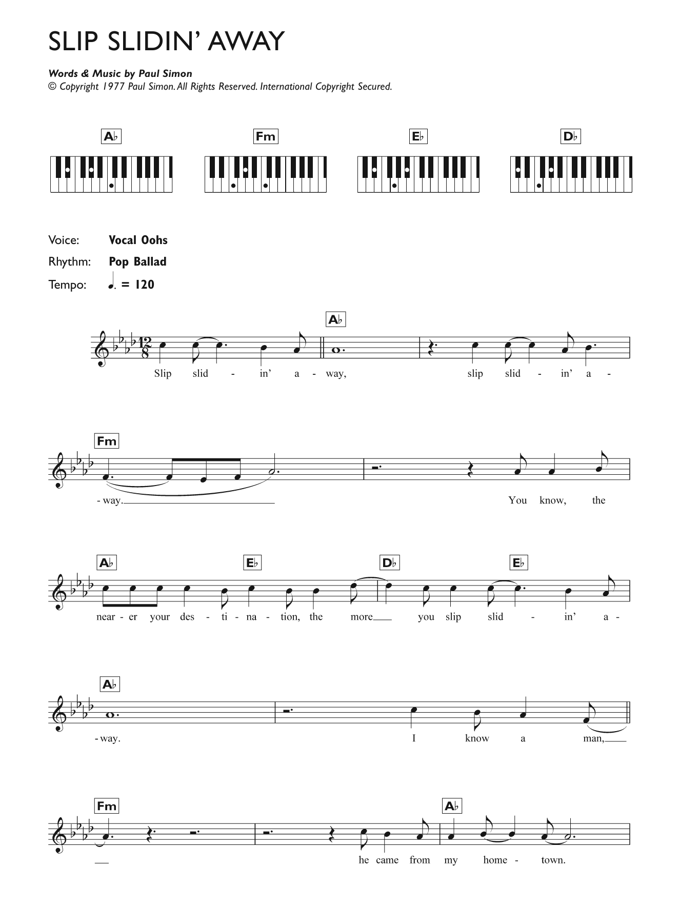 Slip Slidin' Away Sheet Music