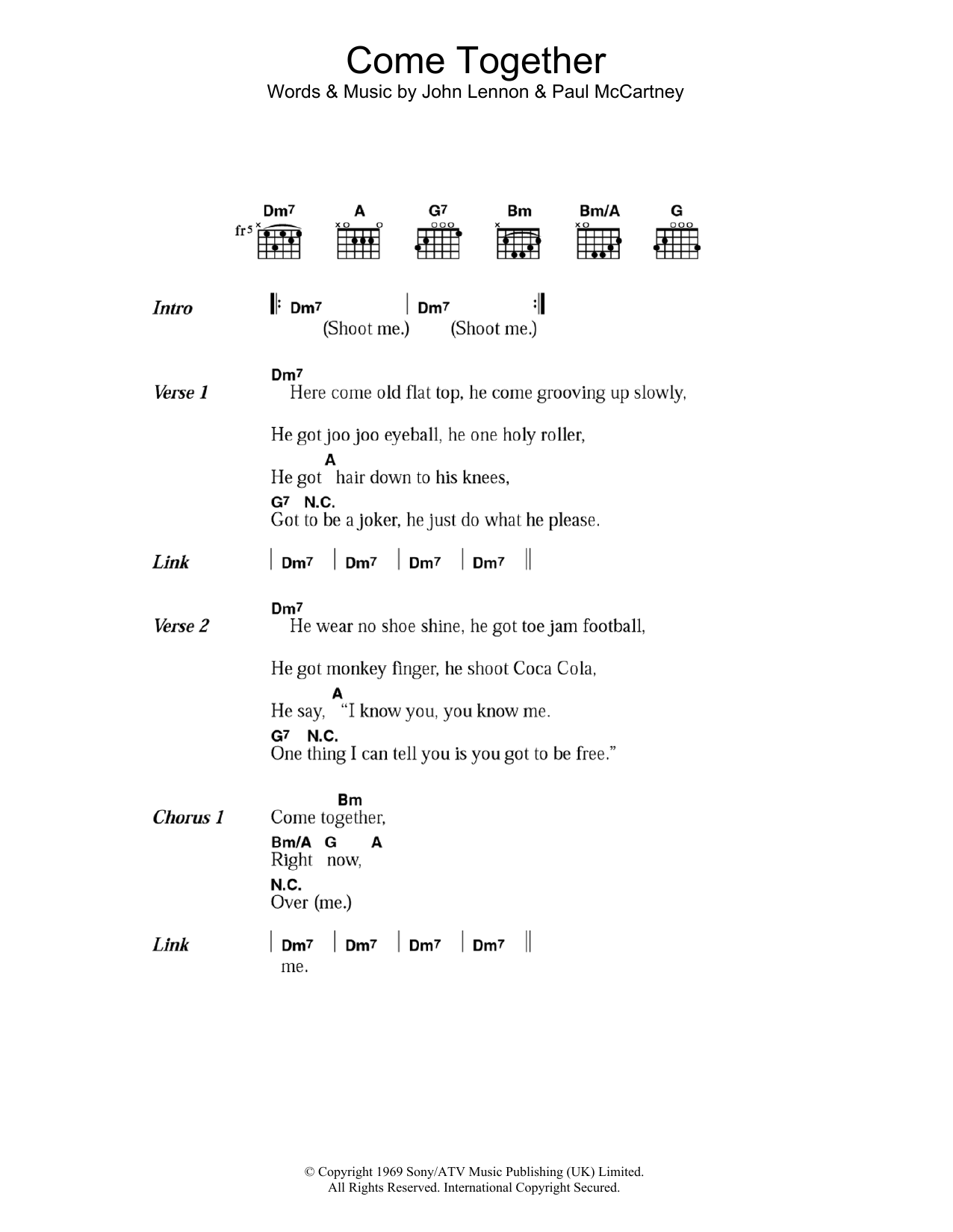 Come Together By The Beatles Guitar Chords Lyrics Guitar Instructor