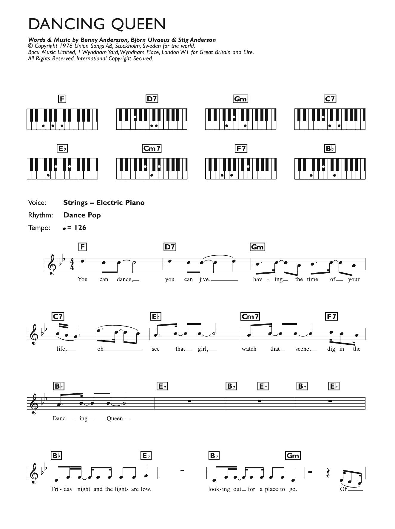 Dancing Queen (Piano Chords/Lyrics)