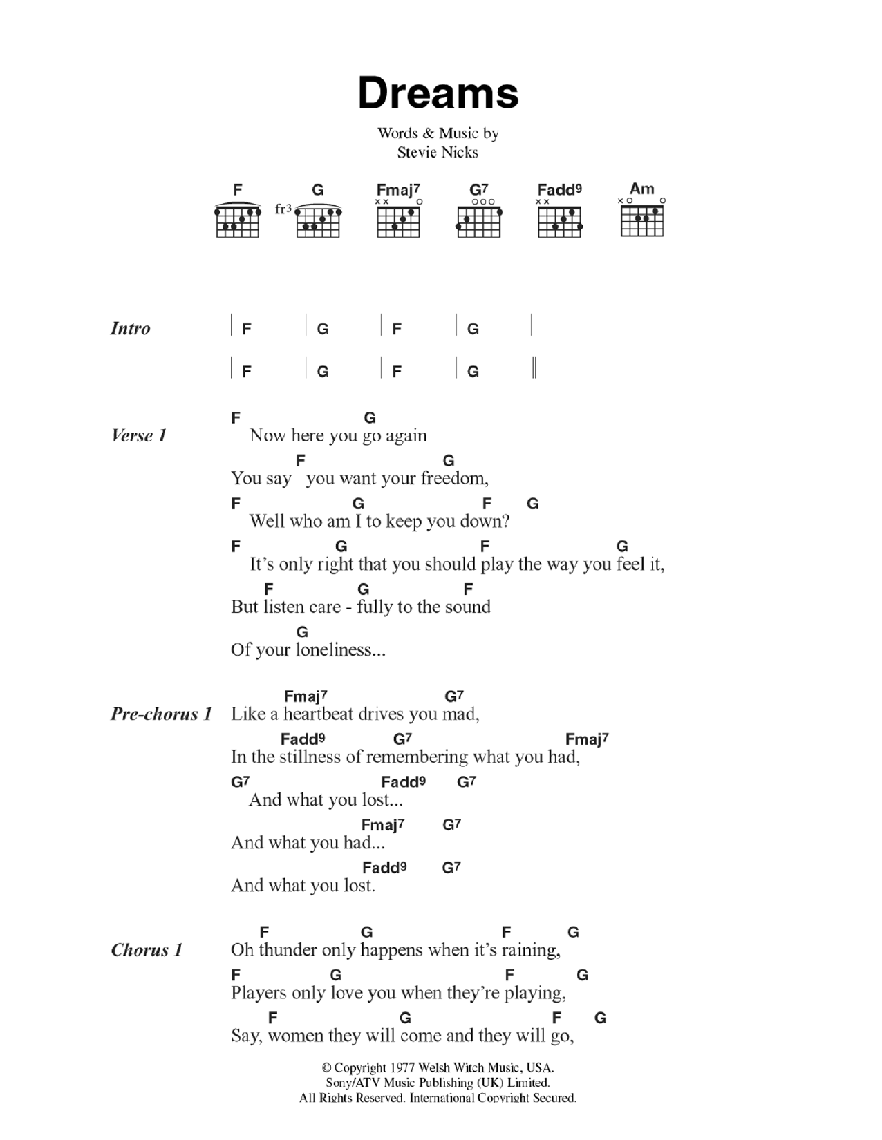 dreams by fleetwood mac guitar chords lyrics guitar instructor