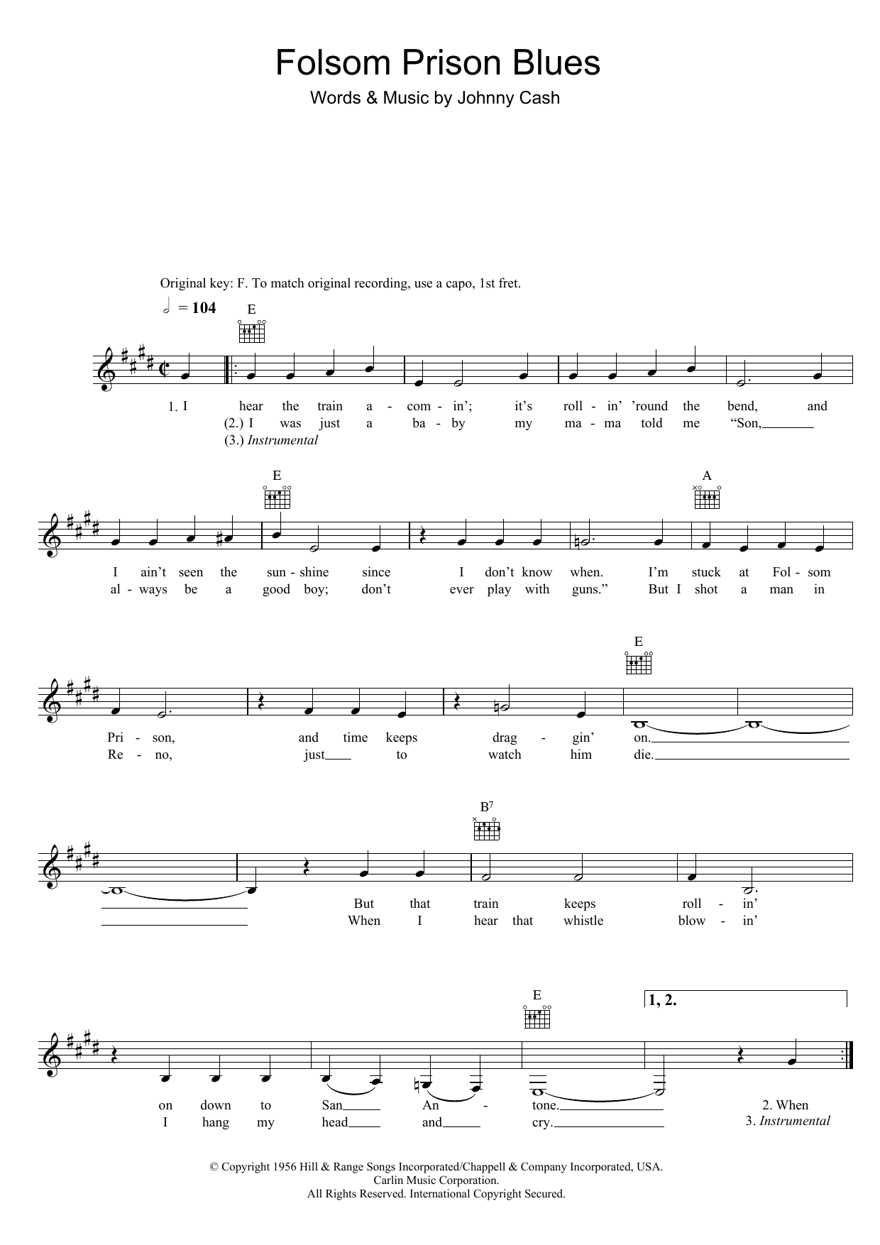 folsom prison blues tabs und text