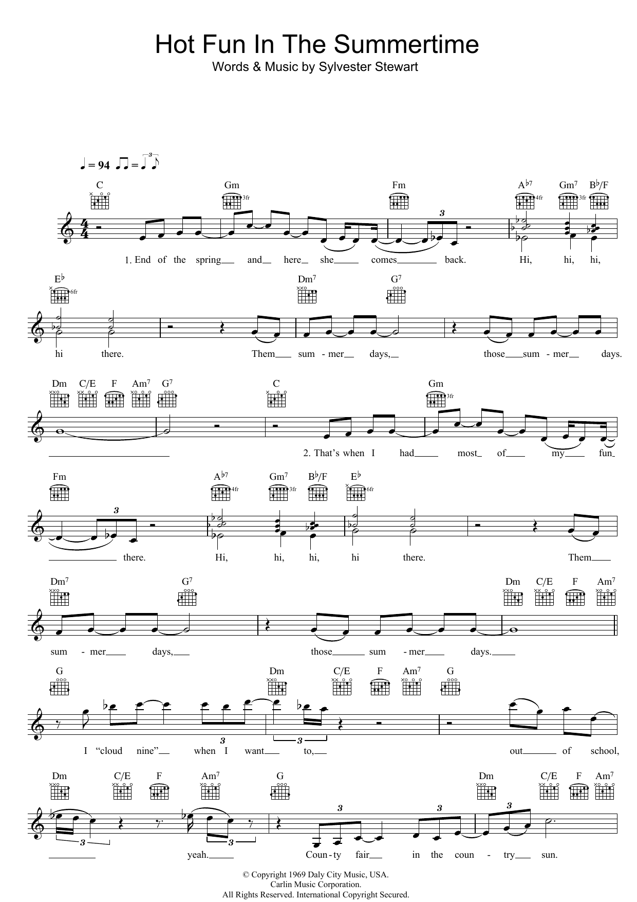 Hot Fun In The Summertime | Sheet Music Direct