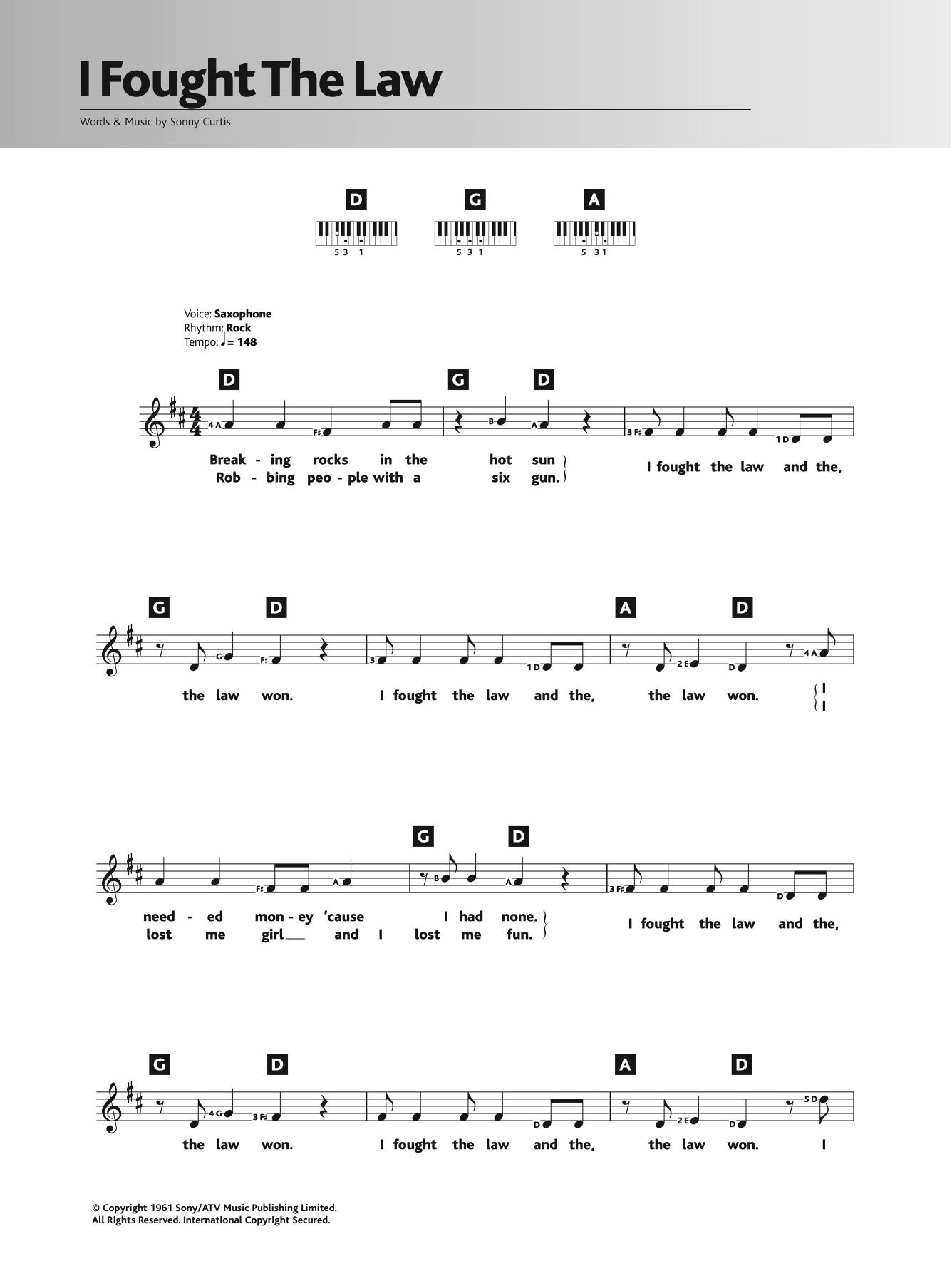 I Fought The Law (Piano Chords/Lyrics)