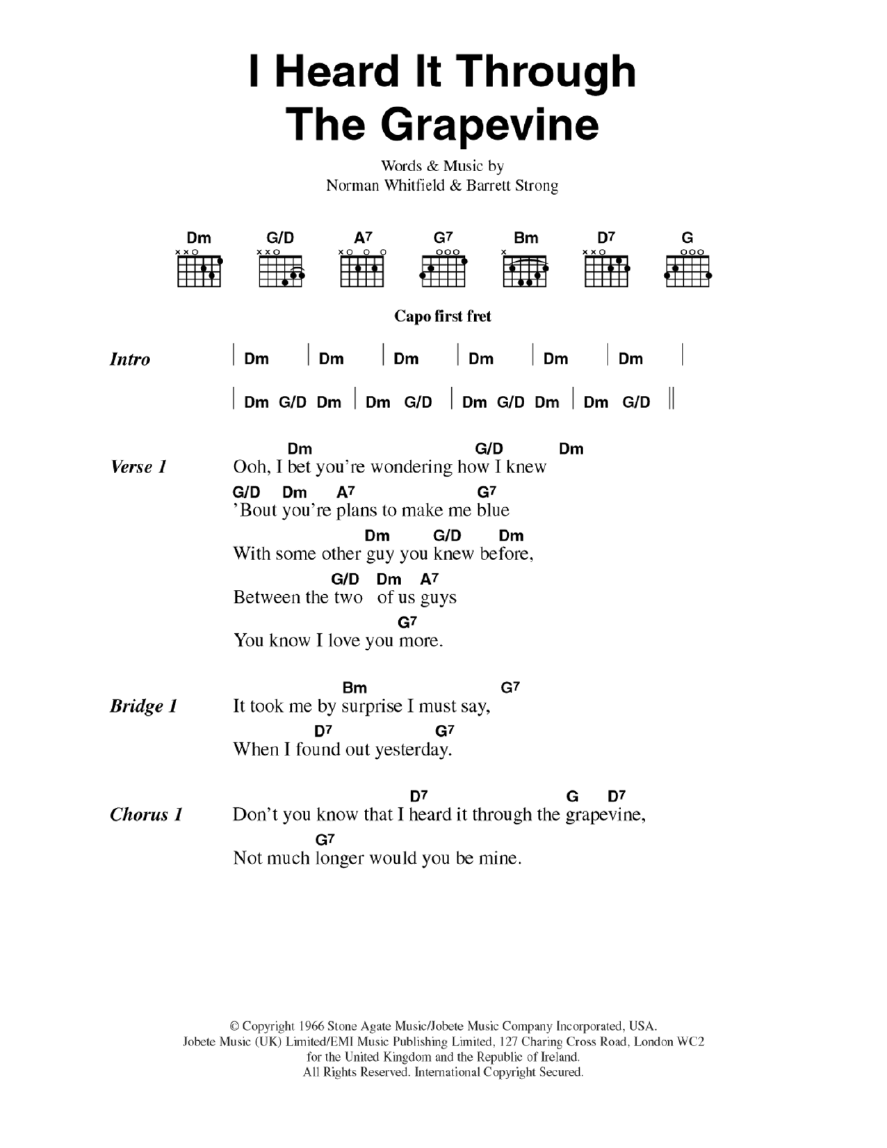 I Heard It Through The Grapevine Sheet Music Marvin Gaye Lyrics