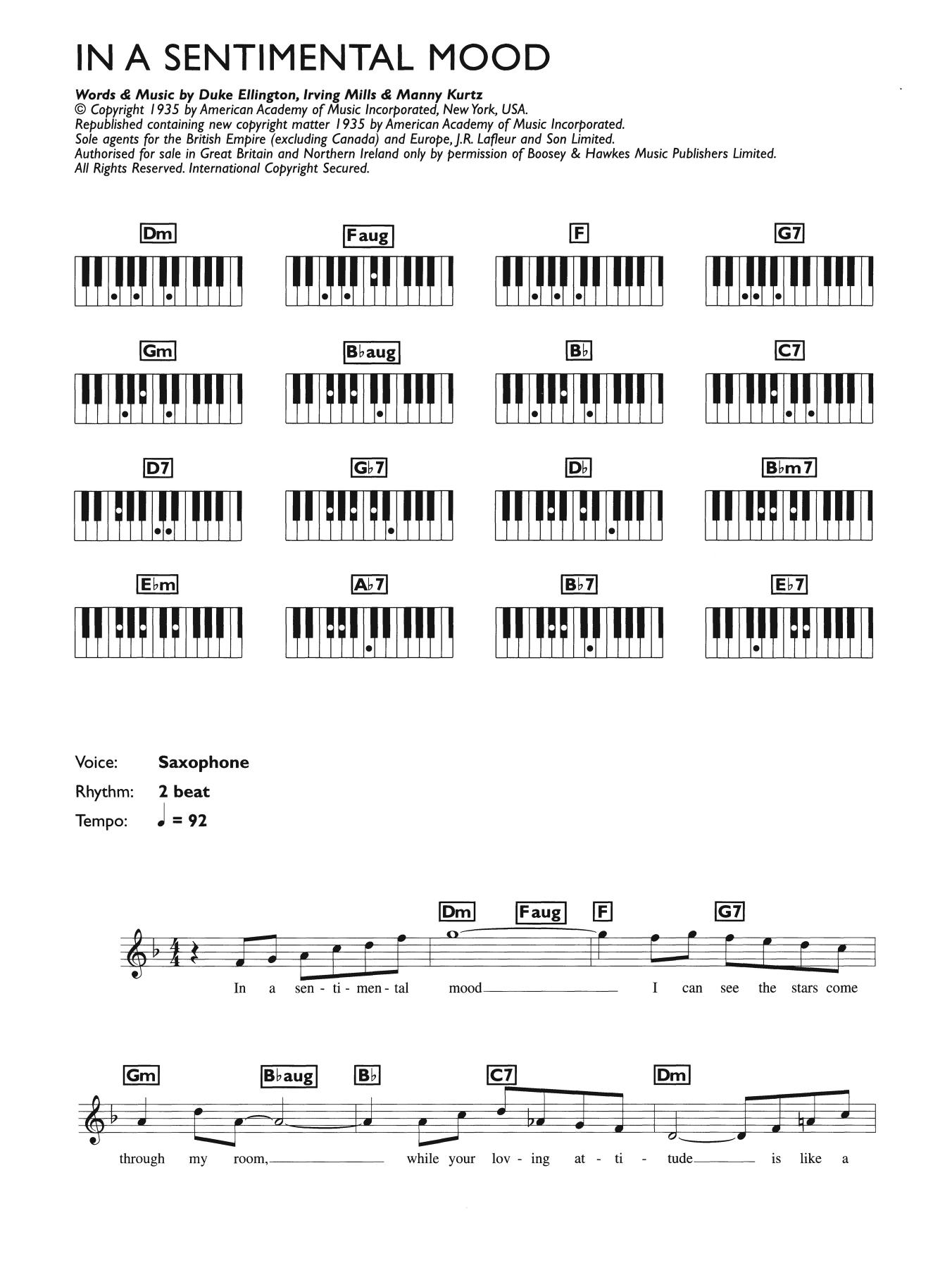 In A Sentimental Mood (Piano Chords/Lyrics)