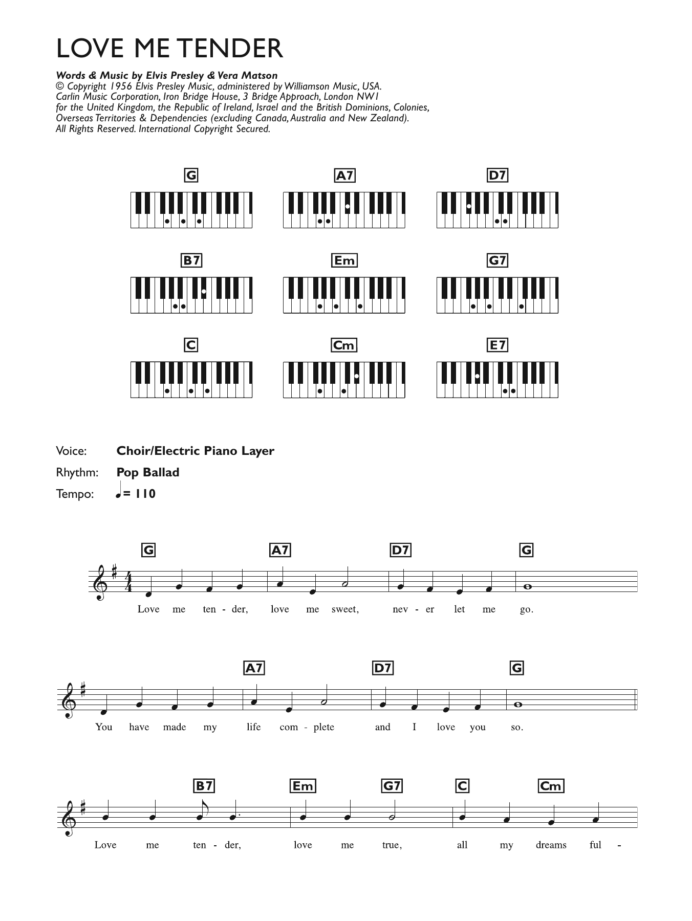 Love Me Tender (Piano Chords/Lyrics)