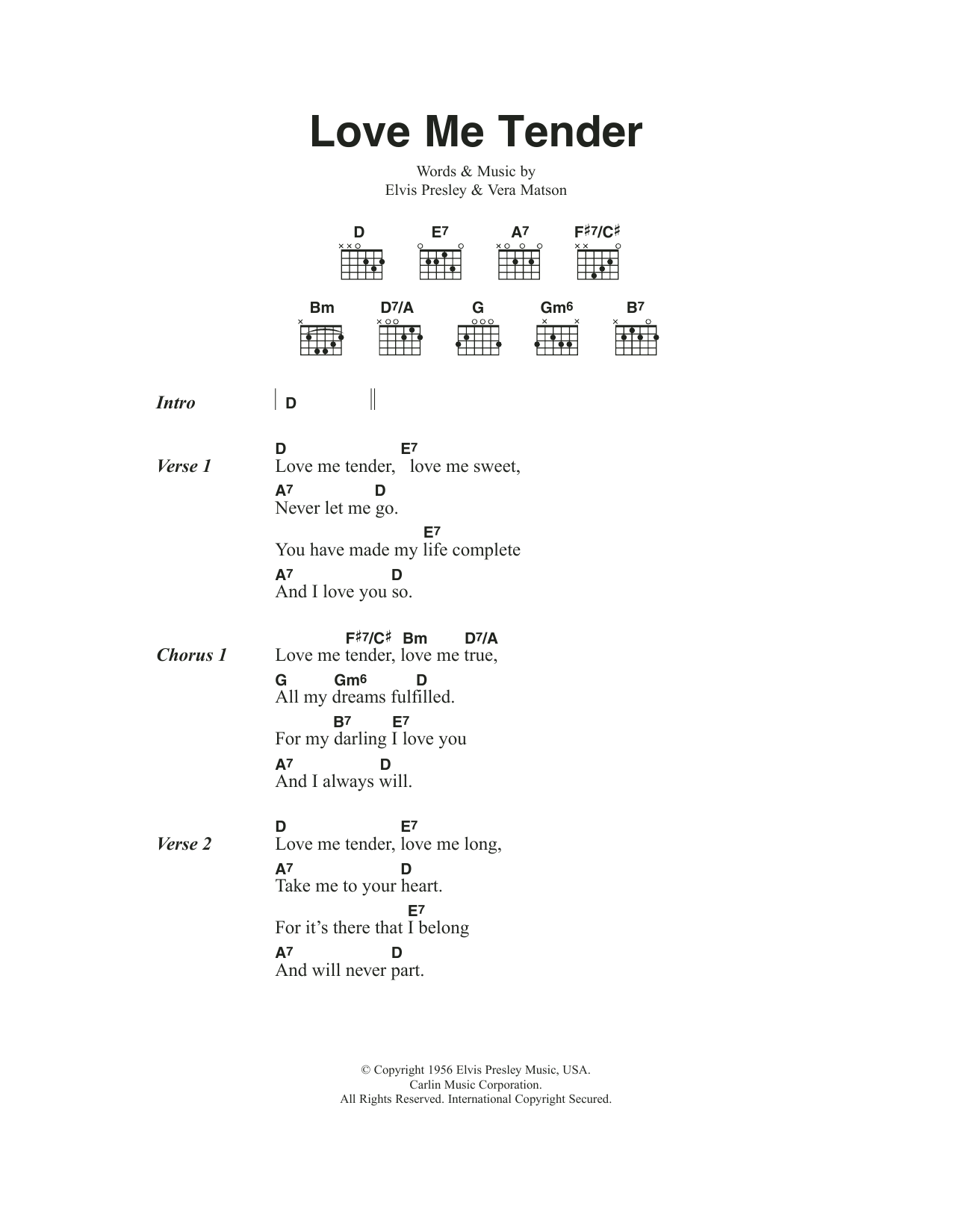 love me tender by elvis presley guitar chords lyrics. Black Bedroom Furniture Sets. Home Design Ideas