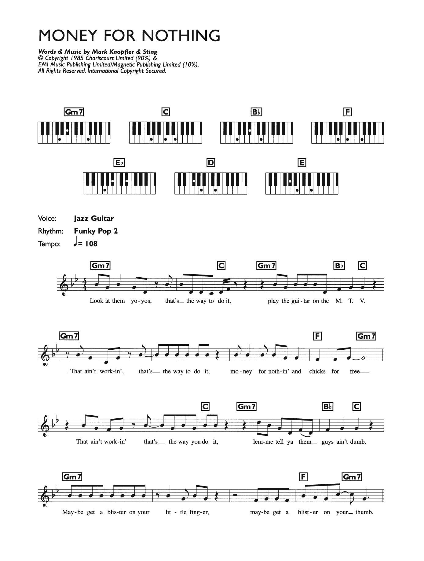 Money For Nothing Sheet Music