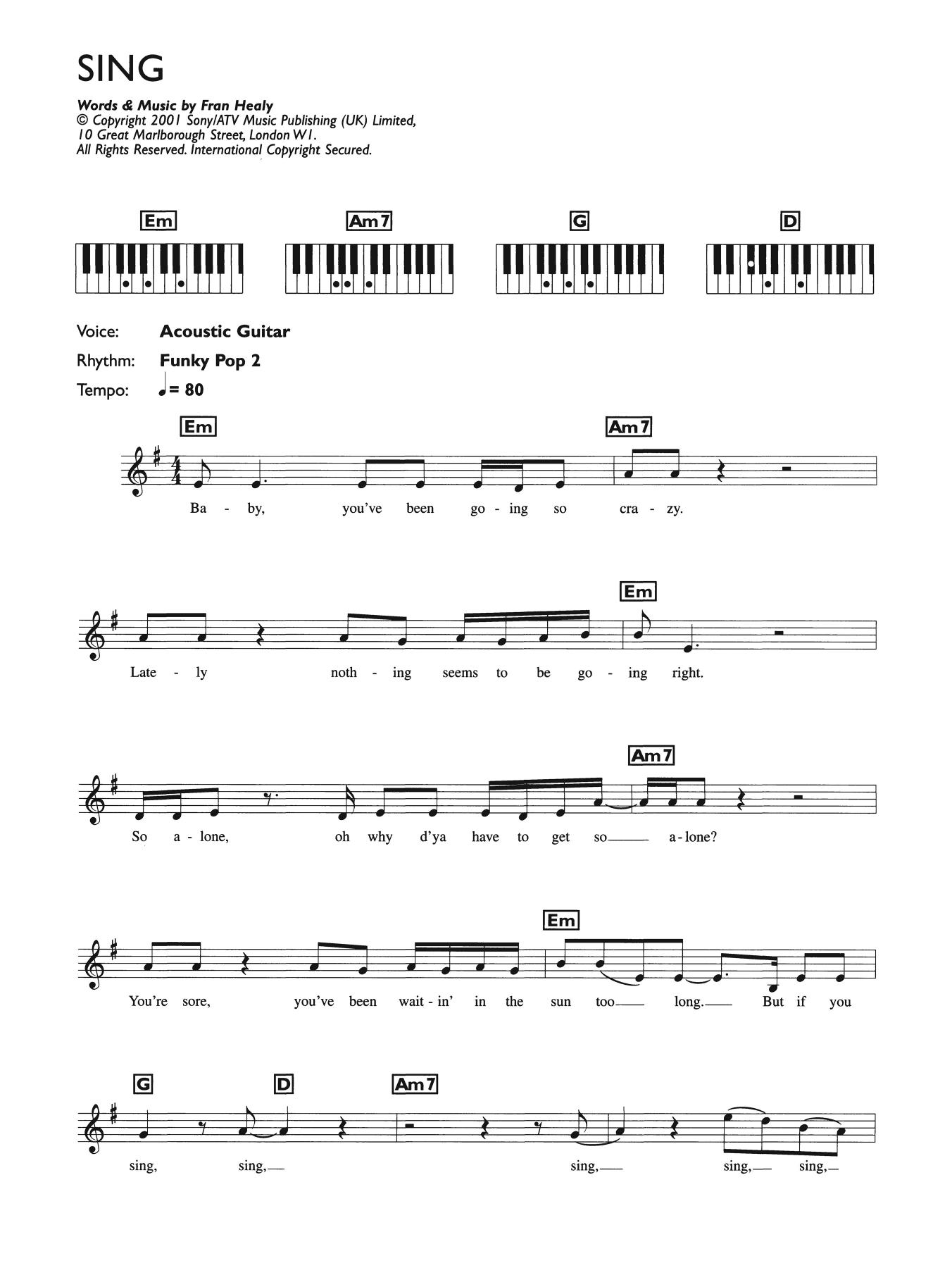 Sing (Piano Chords/Lyrics)