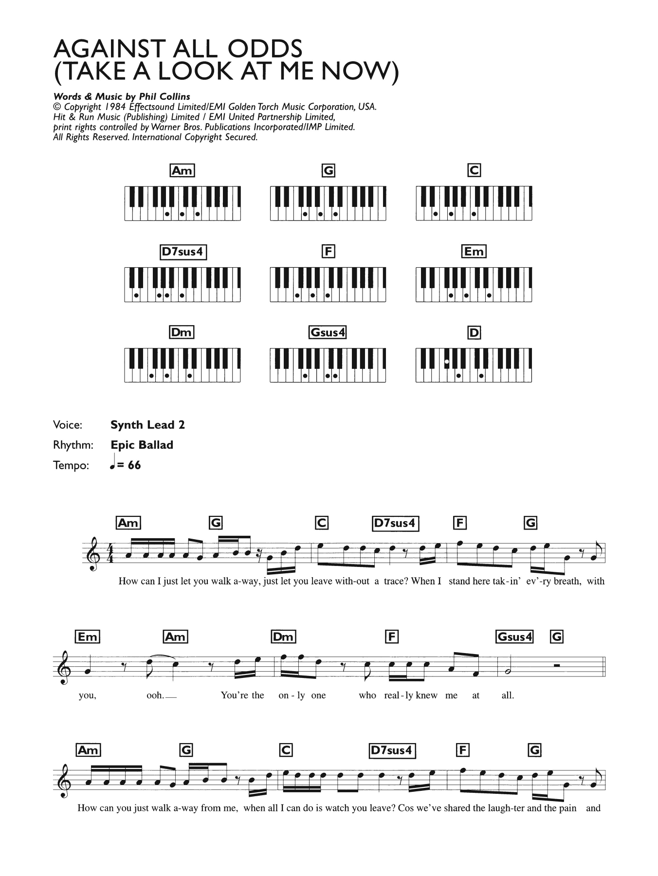 Against All Odds (Take A Look At Me Now) (Piano Chords/Lyrics)