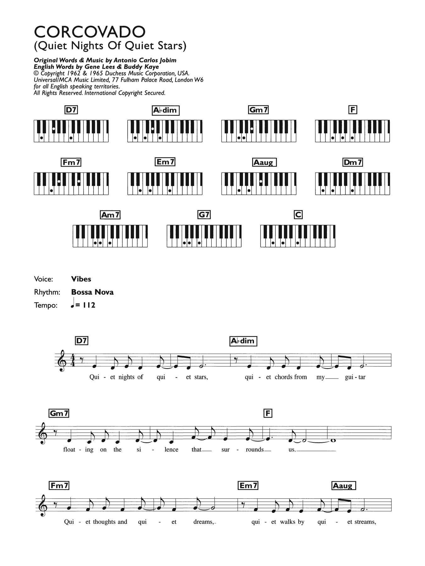 Corcovado (Quiet Nights Of Quiet Stars) Sheet Music