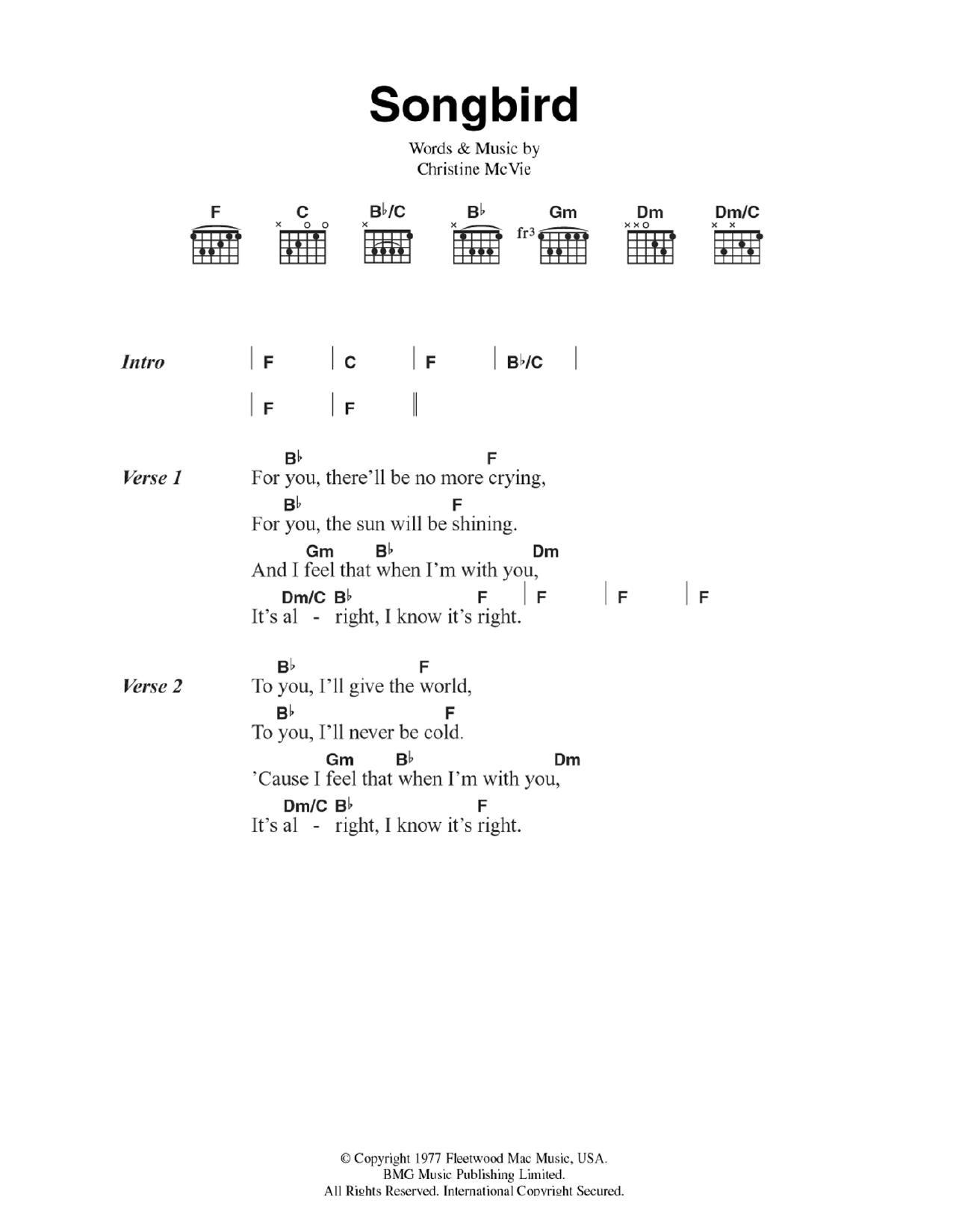 songbird lyrics fleetwood mac chords