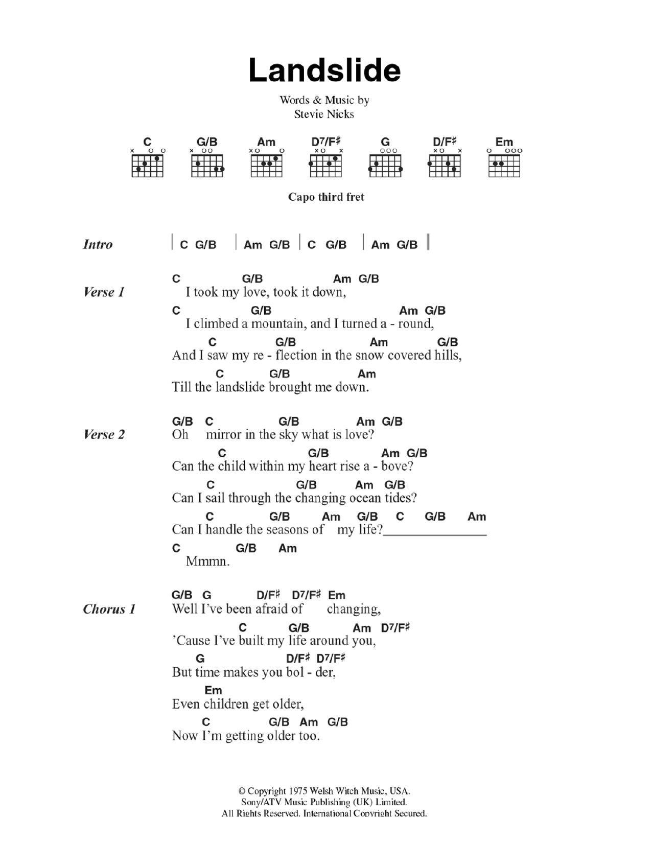 Landslide By Fleetwood Mac Guitar Chordslyrics Guitar Instructor