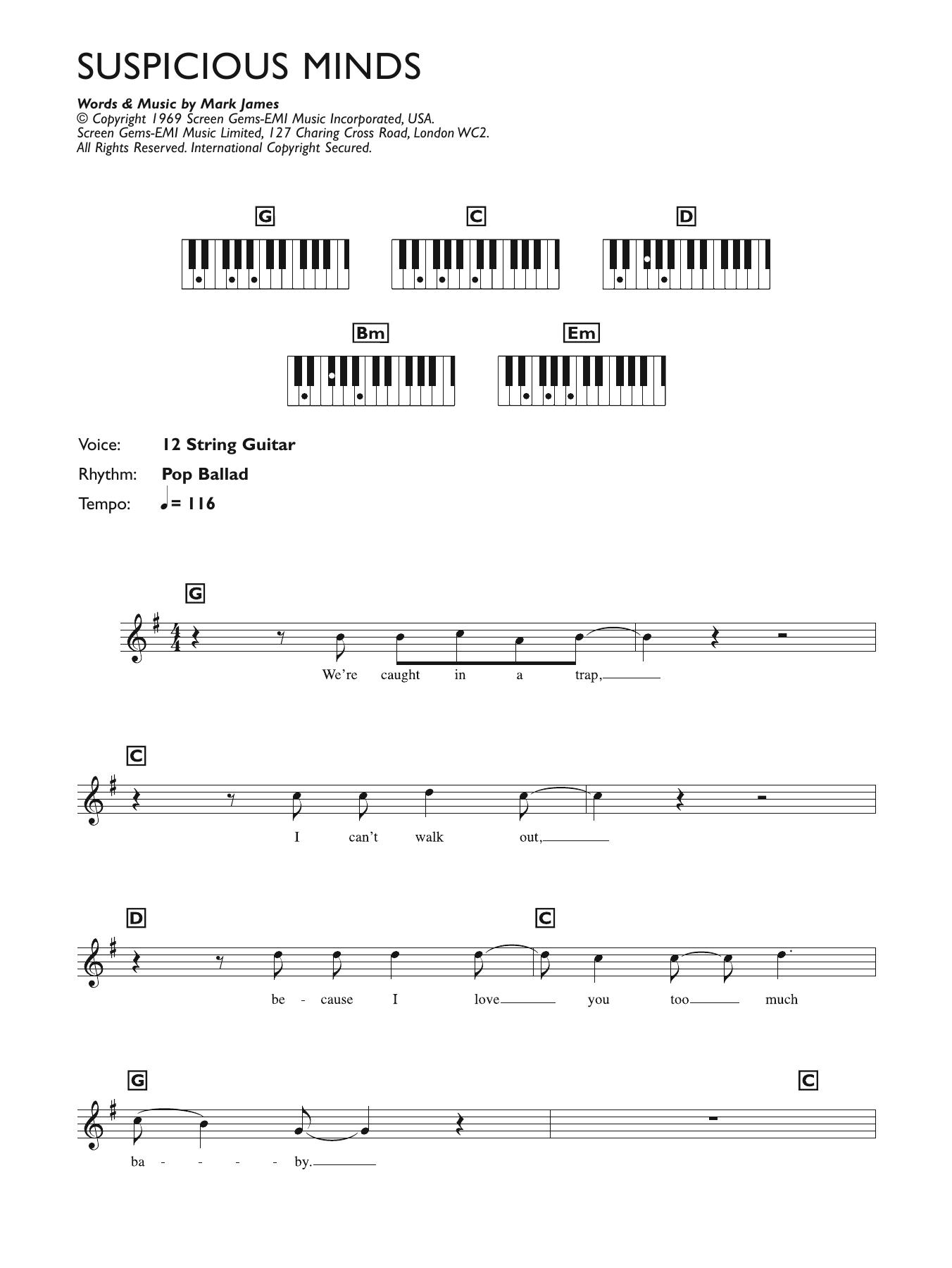 Suspicious Minds Sheet Music