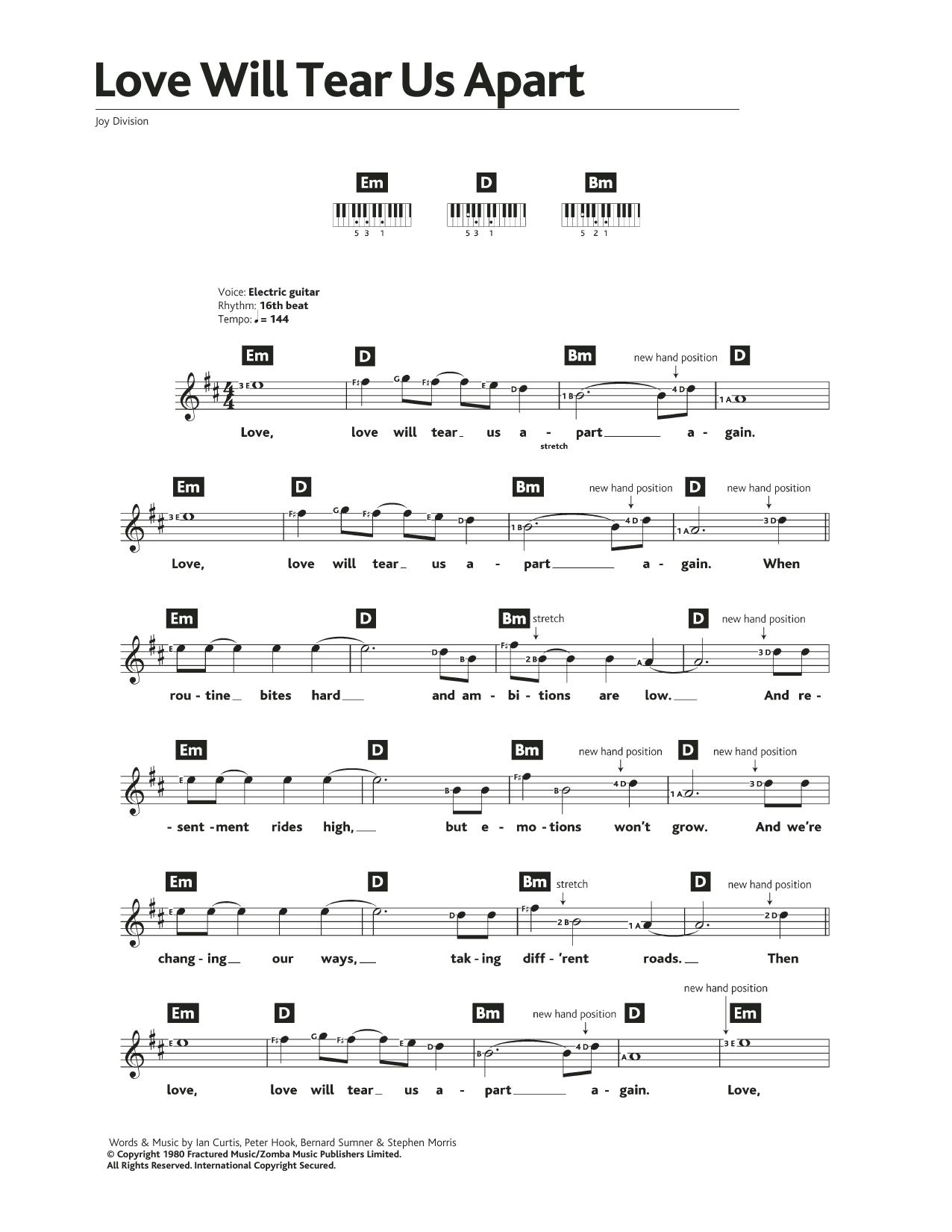 Love Will Tear Us Apart Sheet Music