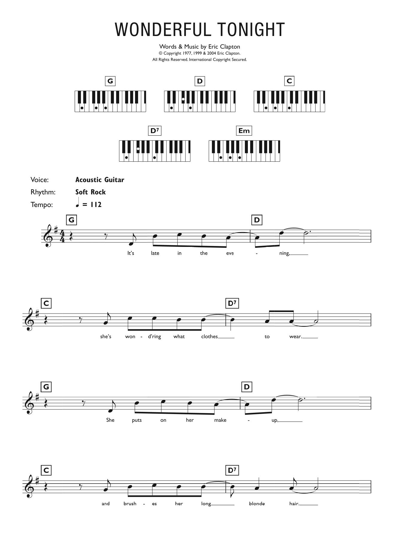 Wonderful Tonight Noten   Eric Clapton   Klavier Akkorde/Texte