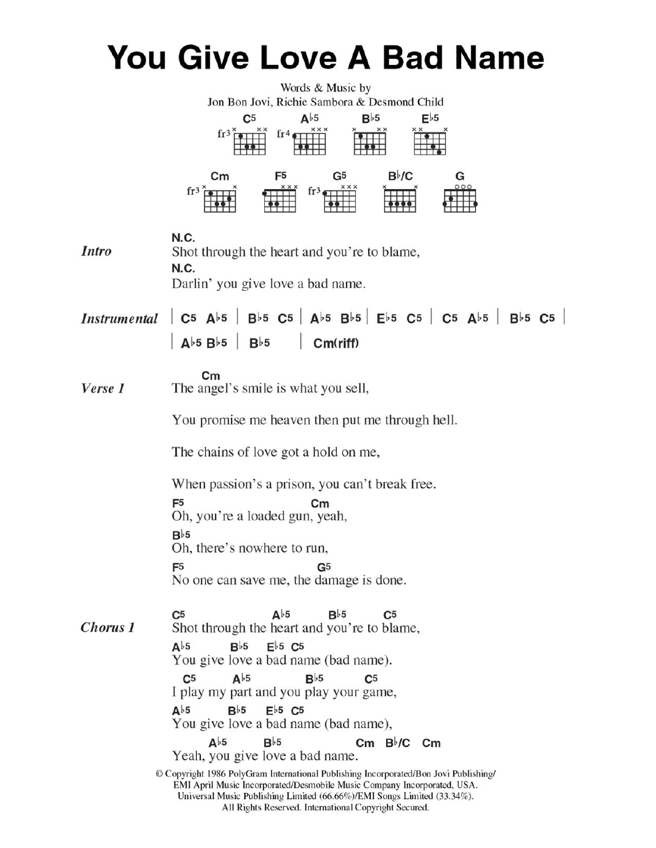 You Give Love A Bad Name By Bon Jovi Guitar Chordslyrics Guitar
