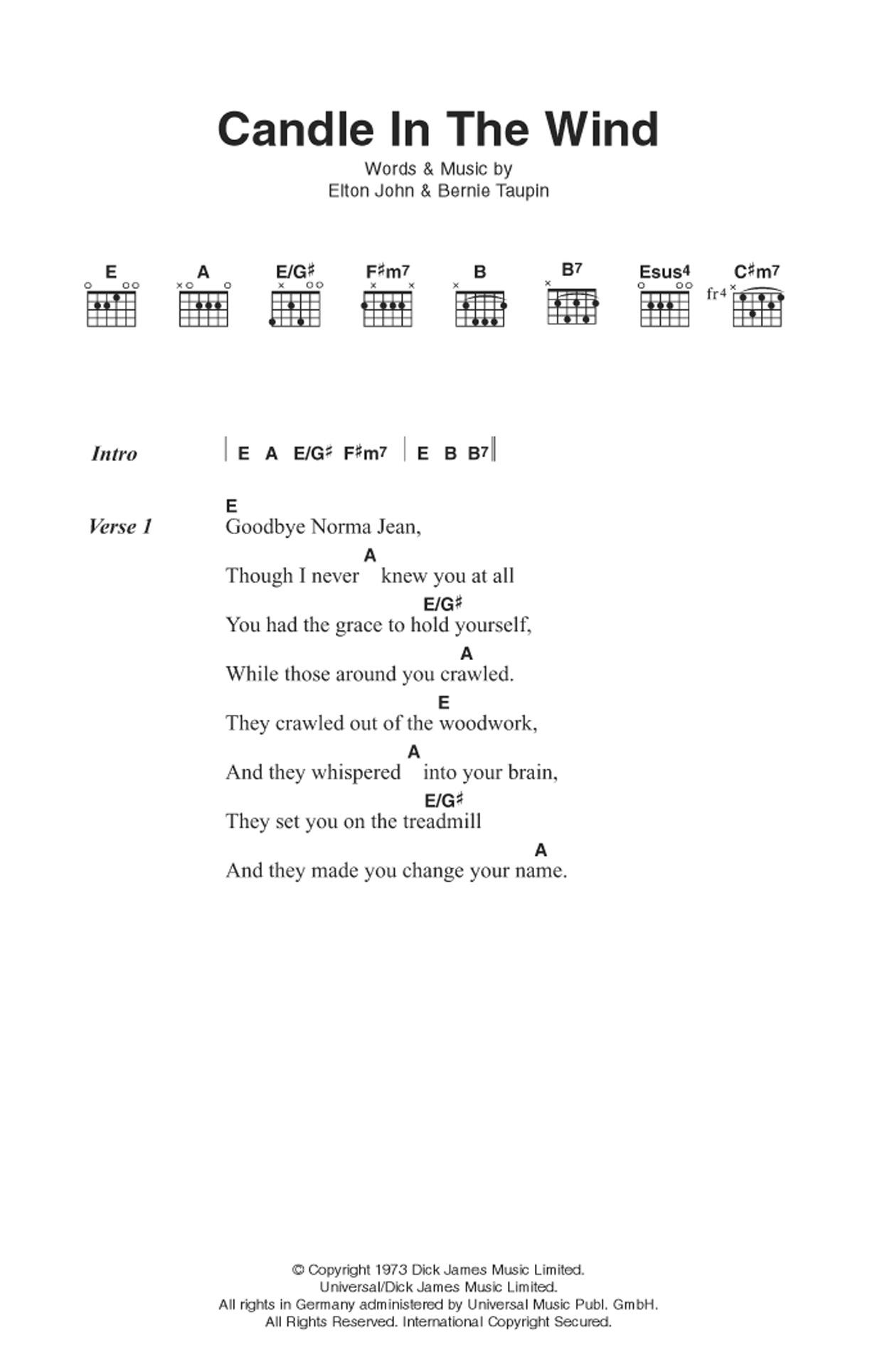 Candle In The Wind Sheet Music Elton John Lyrics Chords