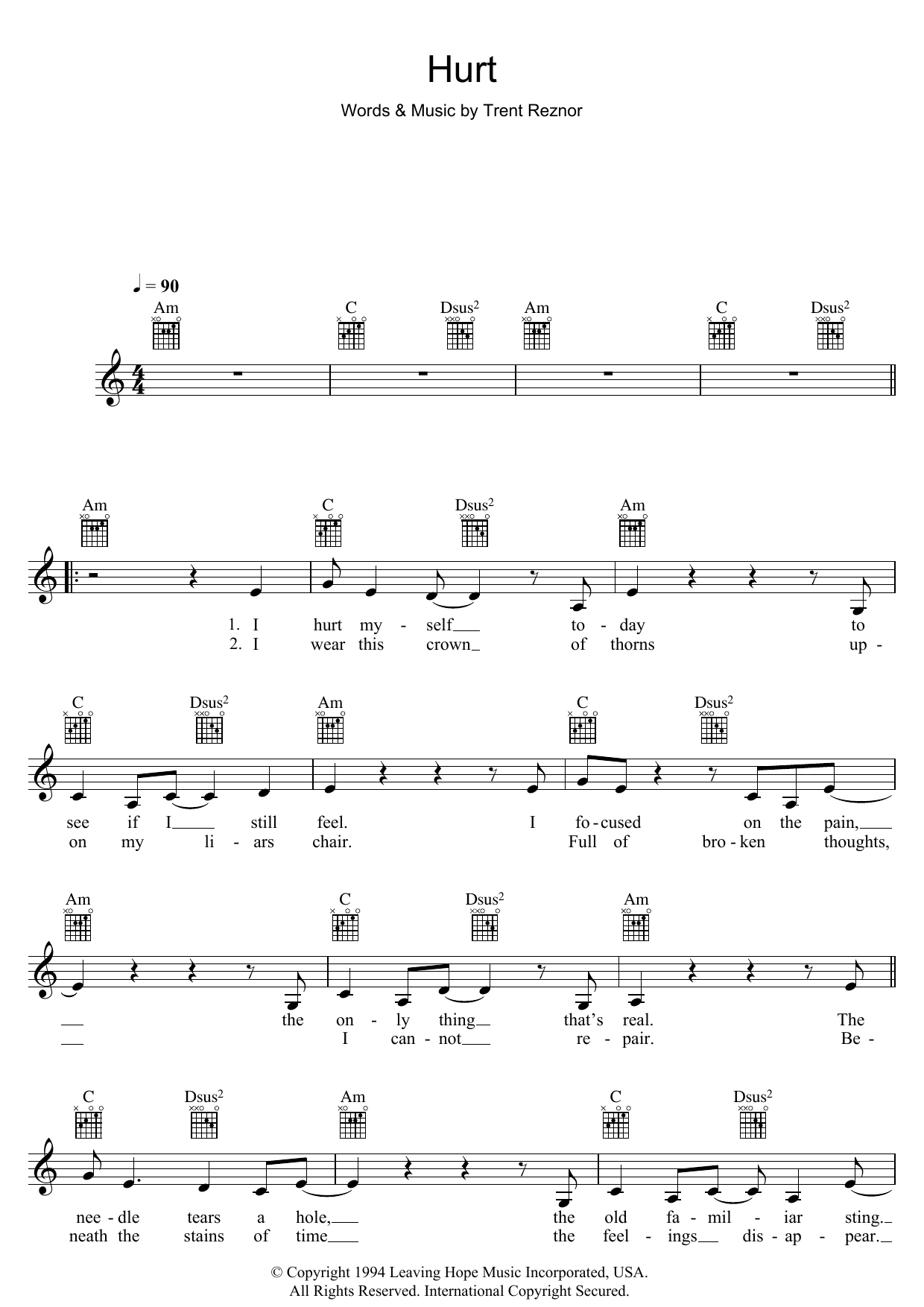 Johnny Cash I Hurt Myself Today Chords Gallery Piano Chord Chart