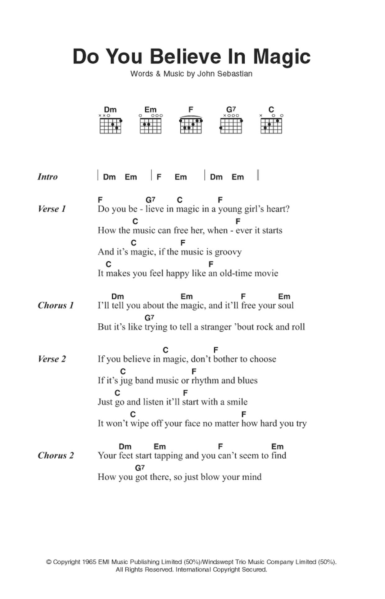Do You Believe In Magic Sheet Music The Lovin Spoonful Lyrics