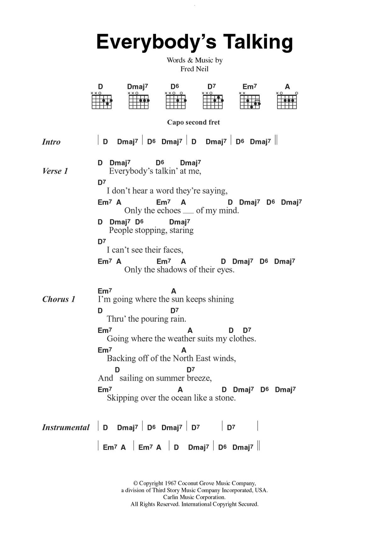 Everybody's Talkin' by Nilsson   Guitar Chords/Lyrics   Guitar ...