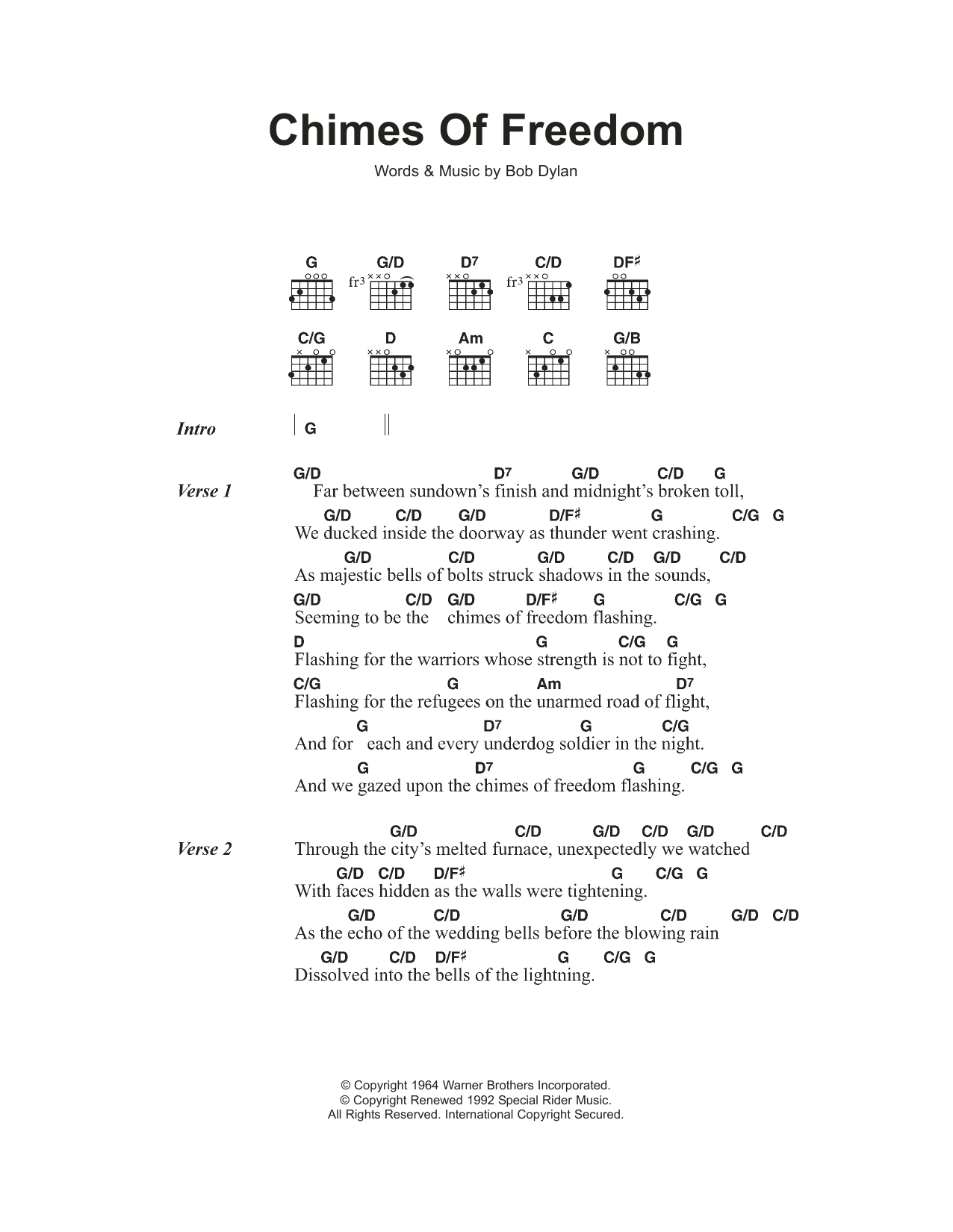 Chimes Of Freedom Sheet Music Bob Dylan Lyrics Chords