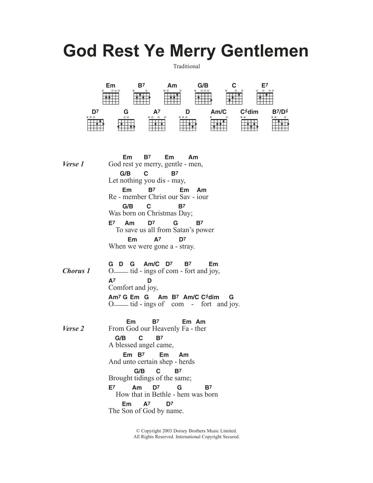 God Rest Ye Merry, Gentlemen Sheet Music | Christmas Carol | Guitar Chords/Lyrics
