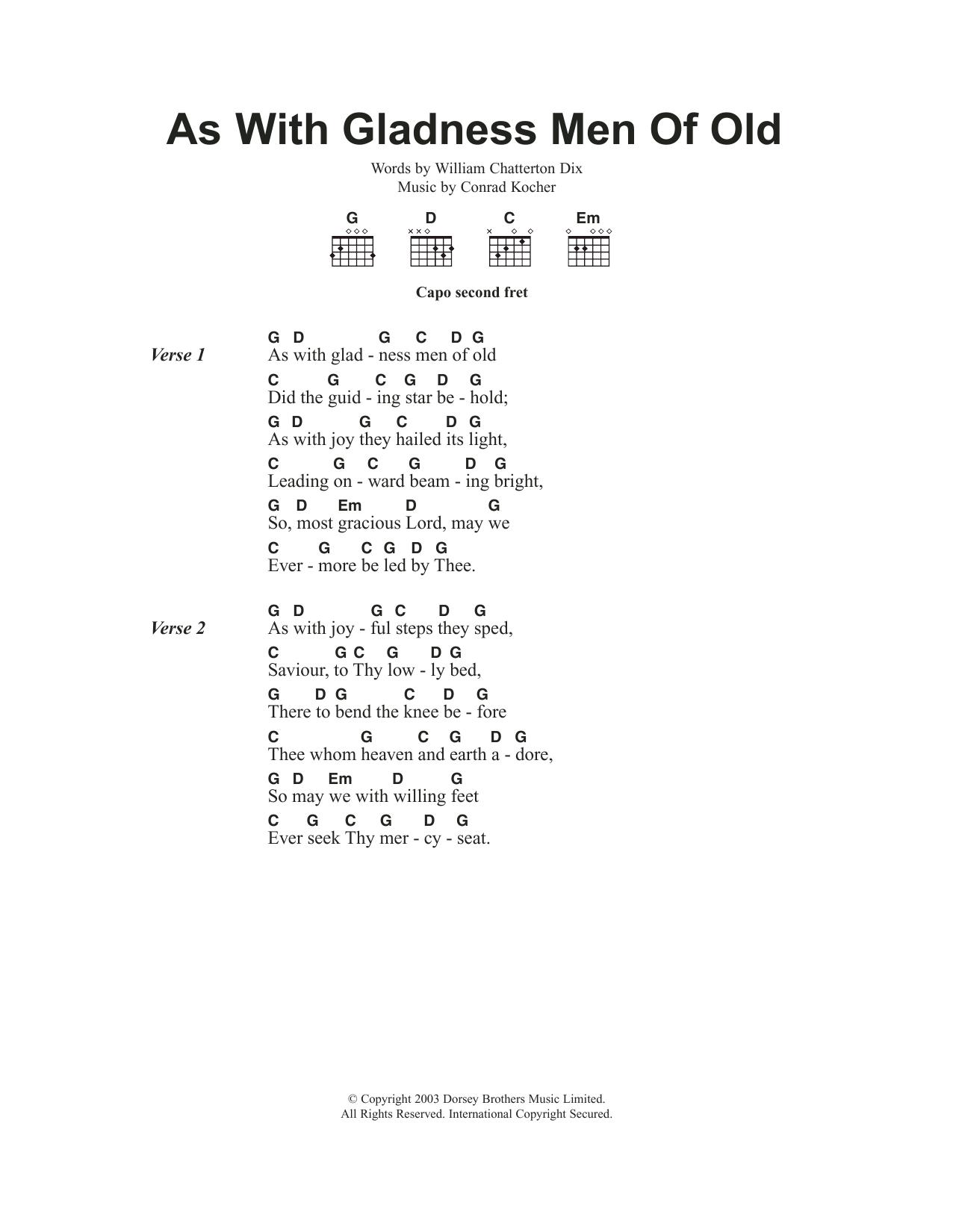 As With Gladness Men Of Old Sheet Music | Christmas Carol | Lyrics ...