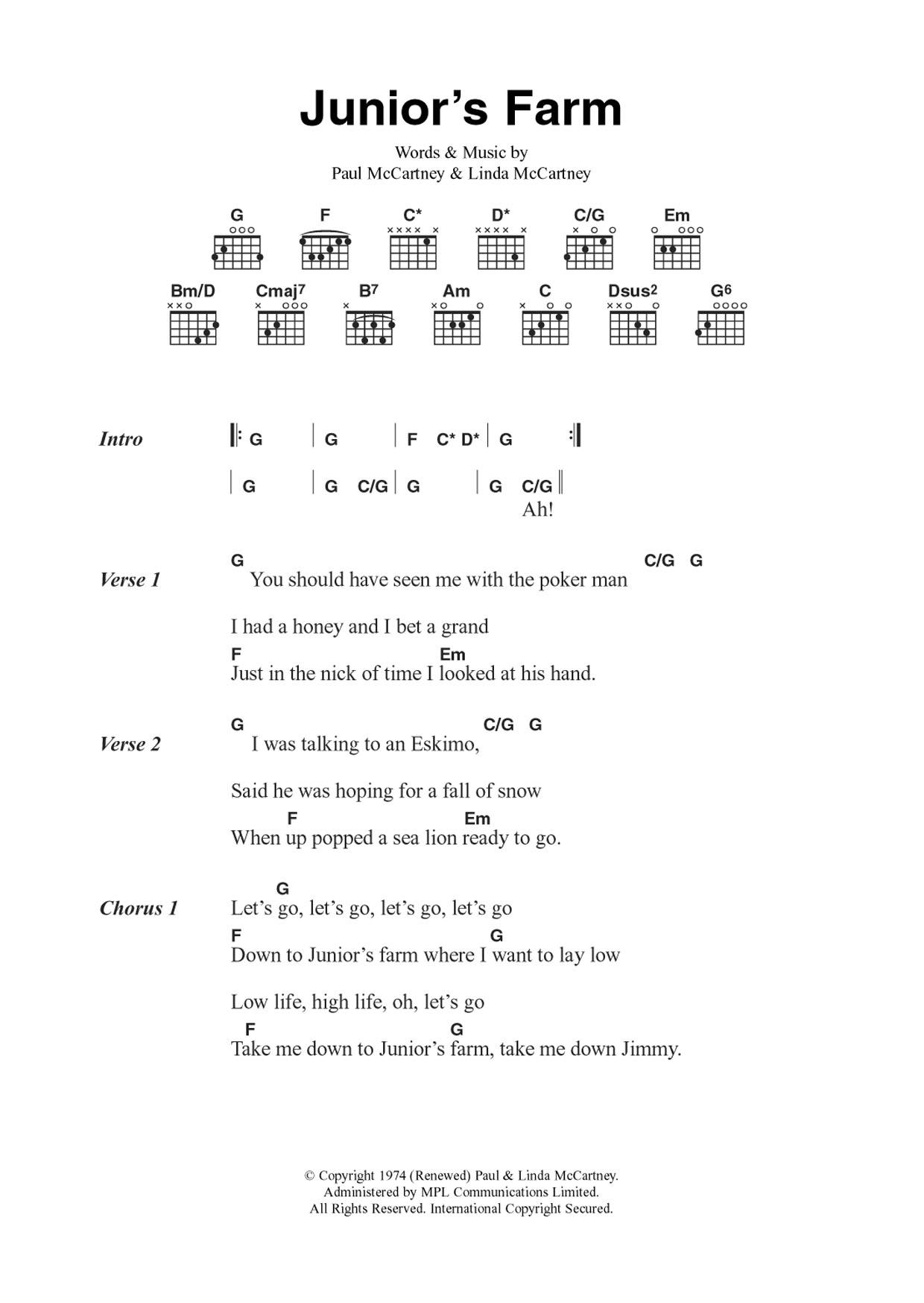 Junior's Farm Sheet Music