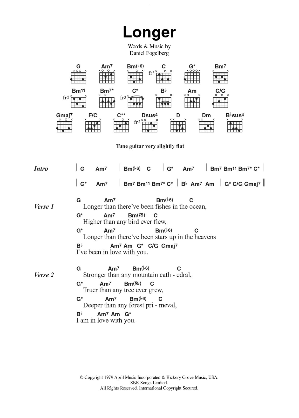 Longer Dan Fogelberg Lyrics Chords