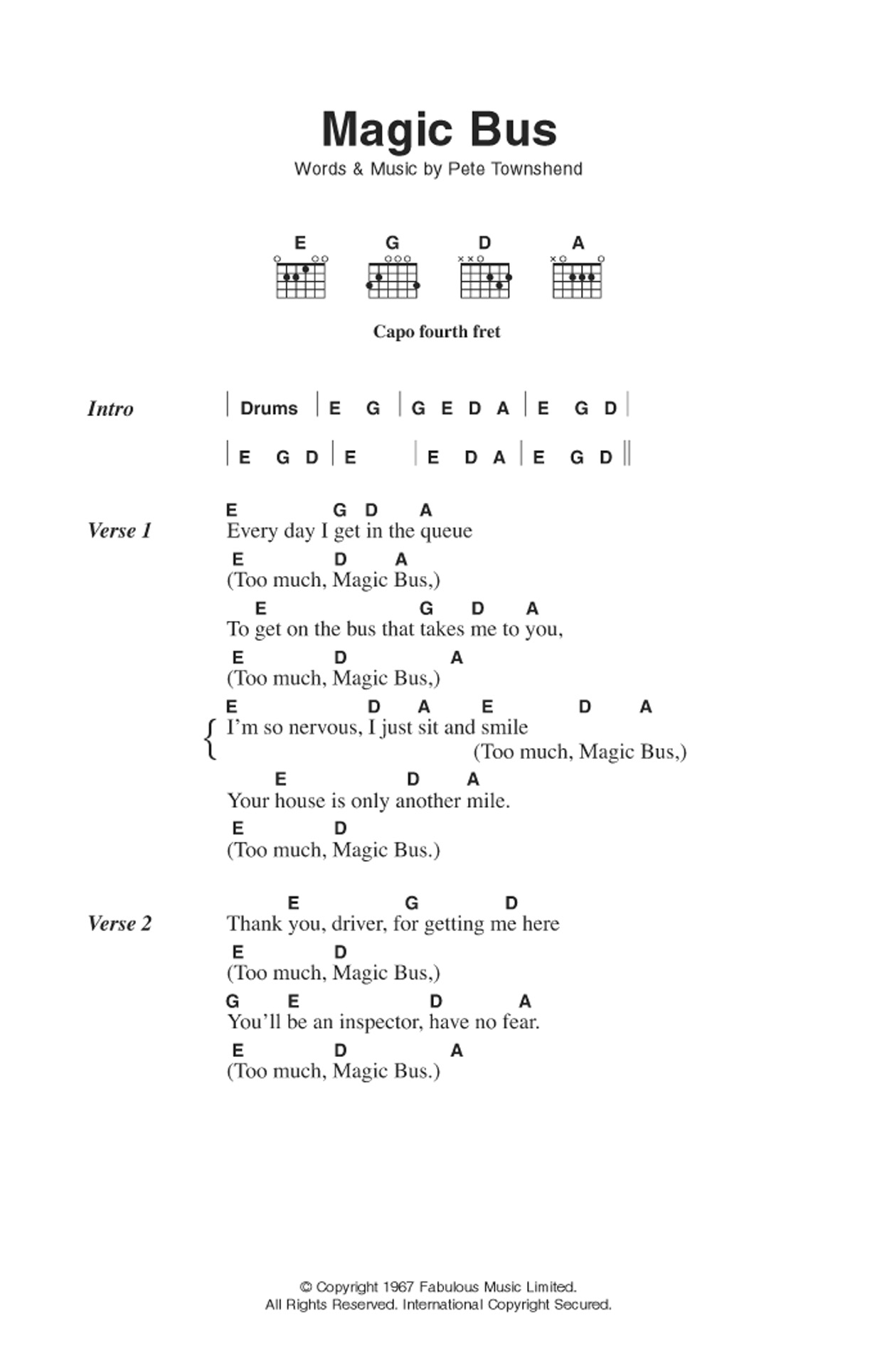 Magic Bus (Guitar Chords/Lyrics)