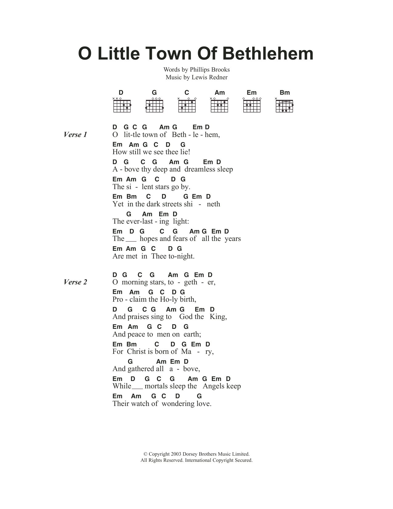 O Little Town Of Bethlehem By Traditional Carol Guitar Chords