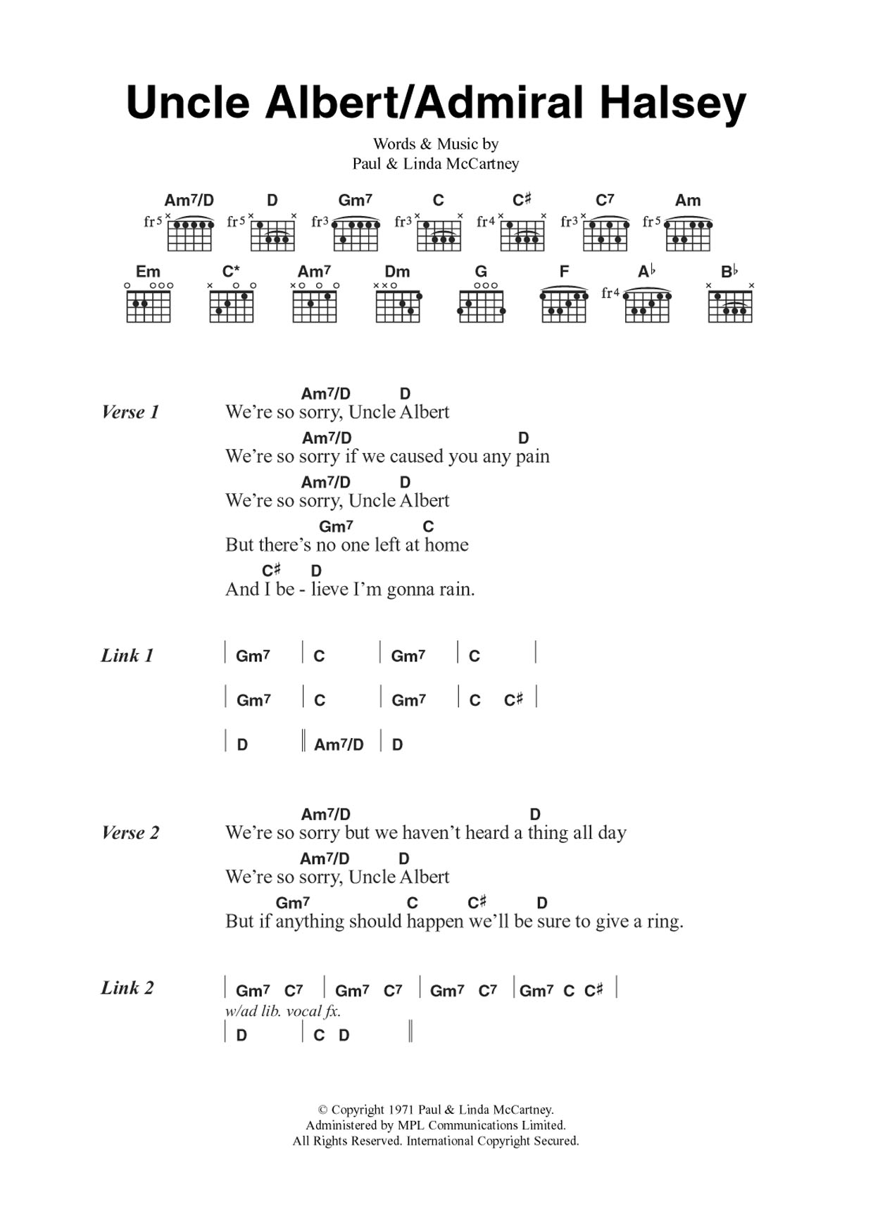 Uncle Albert/Admiral Halsey Sheet Music