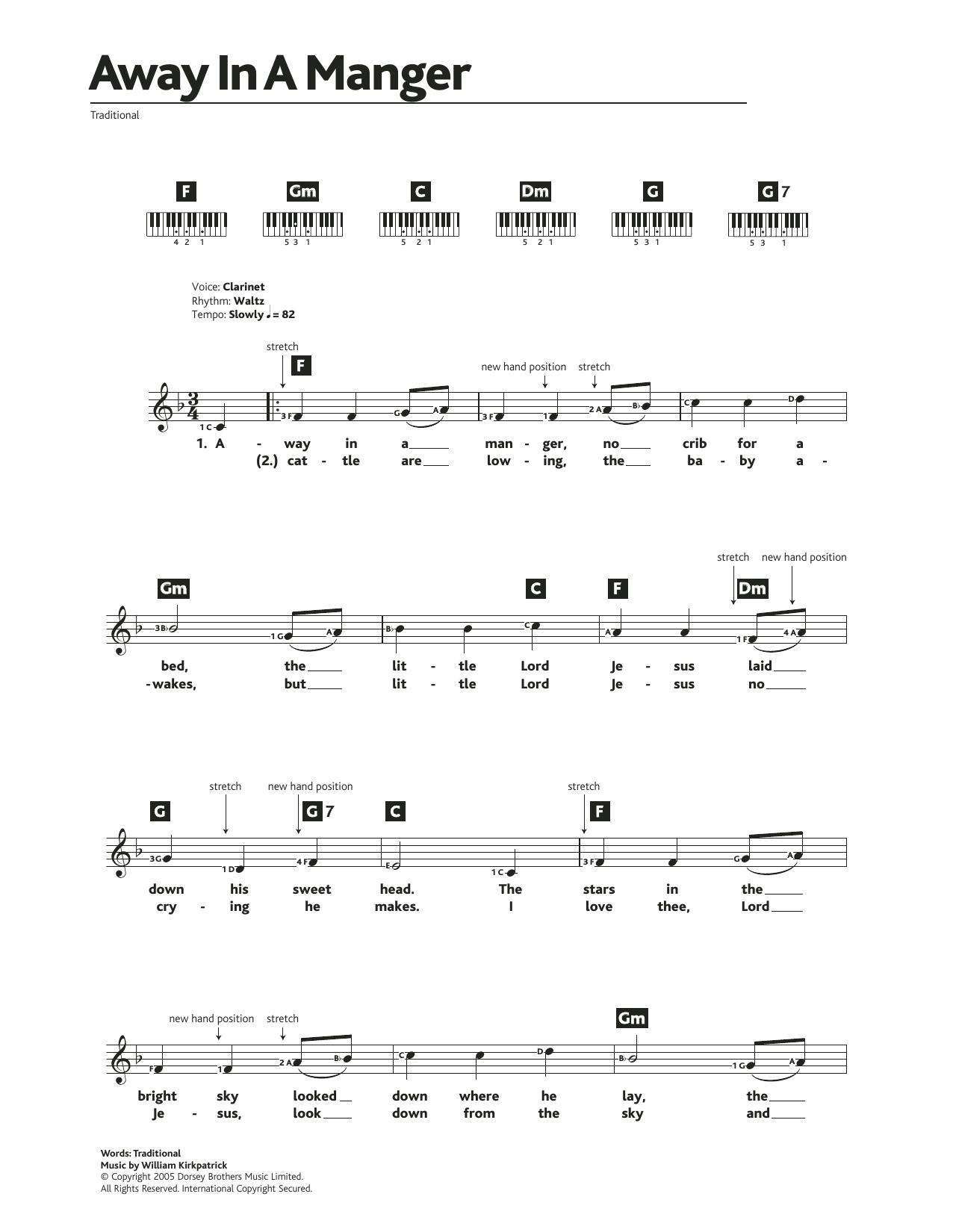 Away In A Manger Sheet Music   Traditional Carol   Piano Chords/Lyrics